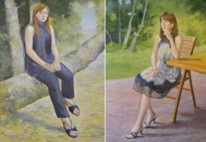 ホテル館内に飾られている、田屋氏の二人のお嬢さんの肖像画。お客さんである有名な画家の方が描いた作品とのこと。