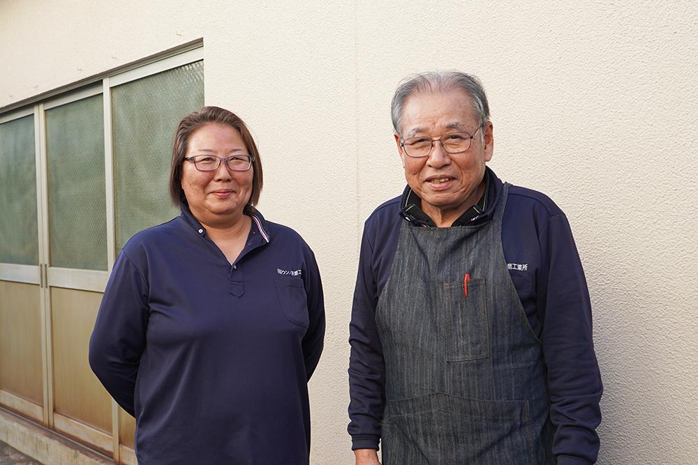 左:代表取締役社長 渡辺礼子氏 右:創業者で取締役会長の吽野岩男(父)氏